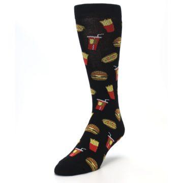 Image of Black Fast Food Burgers Fries Men's Dress Socks (side-2-front-07)