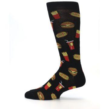 Image of Black Fast Food Burgers Fries Men's Dress Socks (side-2-12)