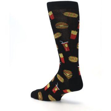 Image of Black Fast Food Burgers Fries Men's Dress Socks (side-2-back-14)