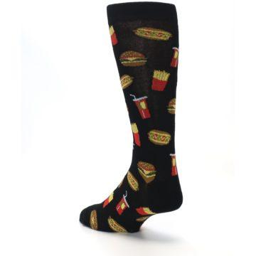 Image of Black Fast Food Burgers Fries Men's Dress Socks (side-2-back-15)