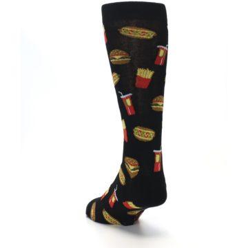 Image of Black Fast Food Burgers Fries Men's Dress Socks (side-2-back-16)