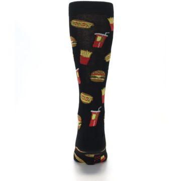 Image of Black Fast Food Burgers Fries Men's Dress Socks (back-18)