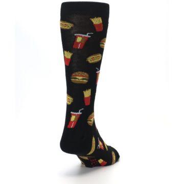 Image of Black Fast Food Burgers Fries Men's Dress Socks (side-1-back-20)
