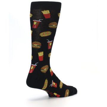 Image of Black Fast Food Burgers Fries Men's Dress Socks (side-1-back-22)