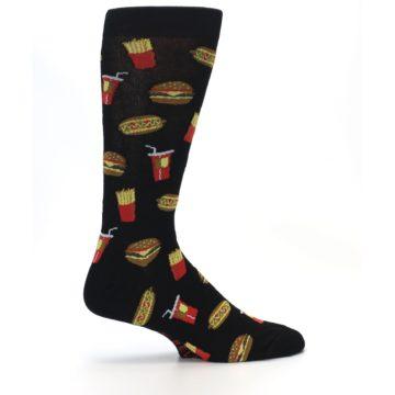 Image of Black Fast Food Burgers Fries Men's Dress Socks (side-1-24)