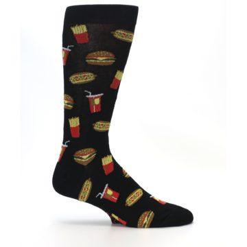 Image of Black Fast Food Burgers Fries Men's Dress Socks (side-1-25)