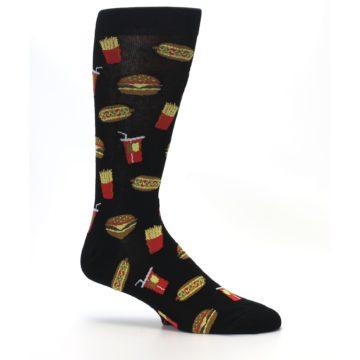 Image of Black Fast Food Burgers Fries Men's Dress Socks (side-1-26)