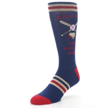 Image of Navy Baseball Sport US Made Men's Dress Socks (side-2-front-08)