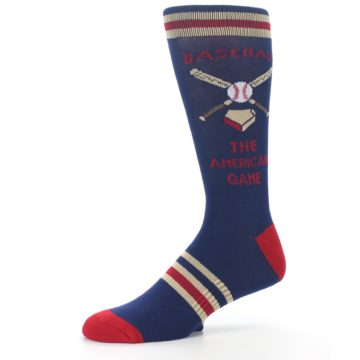 Image of Navy Baseball Sport US Made Men's Dress Socks (side-2-10)