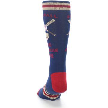 Image of Navy Baseball Sport US Made Men's Dress Socks (back-17)