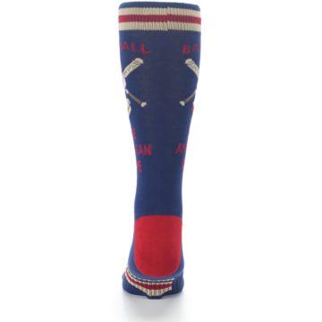Image of Navy Baseball Sport US Made Men's Dress Socks (back-18)