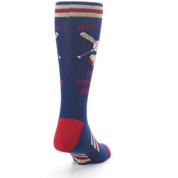 Image of Navy Baseball Sport US Made Men's Dress Socks (side-1-back-20)