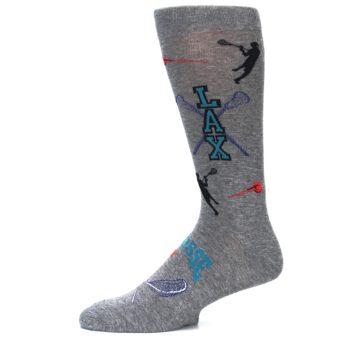 Image of Grey Lacrosse Sport Men's Dress Socks (side-2-11)