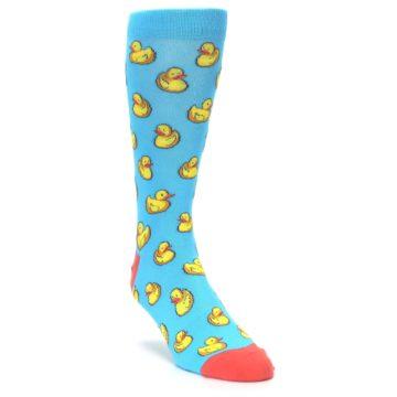 Image of Blue Yellow Rubber Ducks Men's Dress Socks (side-1-front-02)
