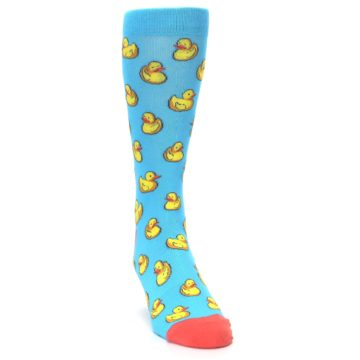 Image of Blue Yellow Rubber Ducks Men's Dress Socks (side-1-front-03)