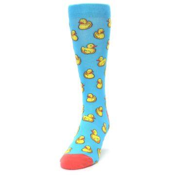 Image of Blue Yellow Rubber Ducks Men's Dress Socks (side-2-front-06)