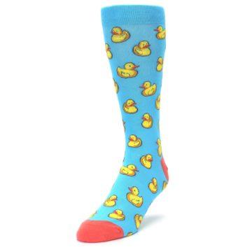 Image of Blue Yellow Rubber Ducks Men's Dress Socks (side-2-front-07)