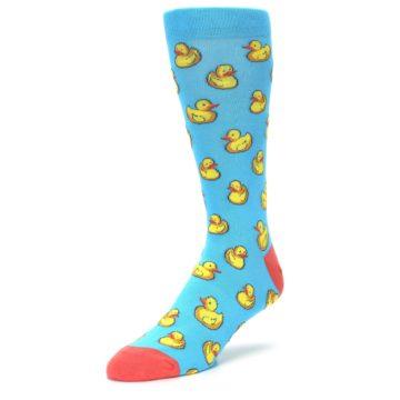 Image of Blue Yellow Rubber Ducks Men's Dress Socks (side-2-front-08)