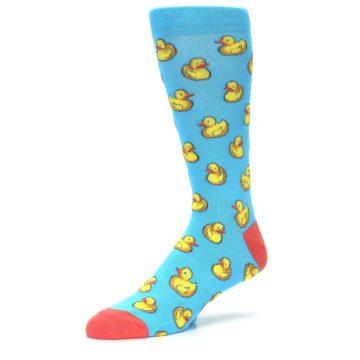 Image of Blue Yellow Rubber Ducks Men's Dress Socks (side-2-09)
