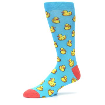 Image of Blue Yellow Rubber Ducks Men's Dress Socks (side-2-10)