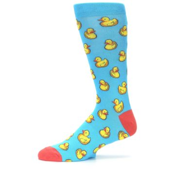 Image of Blue Yellow Rubber Ducks Men's Dress Socks (side-2-11)