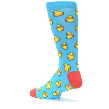 Image of Blue Yellow Rubber Ducks Men's Dress Socks (side-2-back-14)
