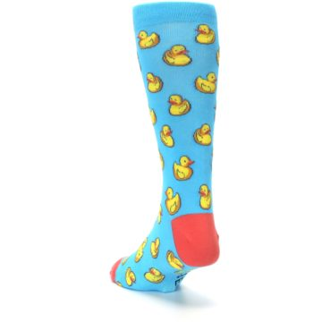 Image of Blue Yellow Rubber Ducks Men's Dress Socks (side-2-back-16)