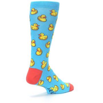 Image of Blue Yellow Rubber Ducks Men's Dress Socks (side-1-back-22)