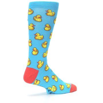 Image of Blue Yellow Rubber Ducks Men's Dress Socks (side-1-23)