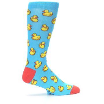 Image of Blue Yellow Rubber Ducks Men's Dress Socks (side-1-24)