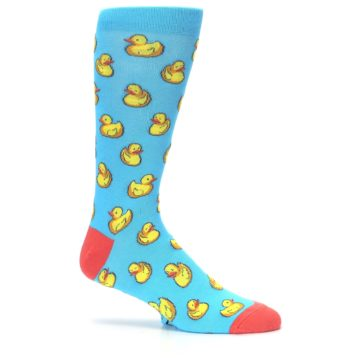 Image of Blue Yellow Rubber Ducks Men's Dress Socks (side-1-25)