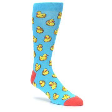 Image of Blue Yellow Rubber Ducks Men's Dress Socks (side-1-27)