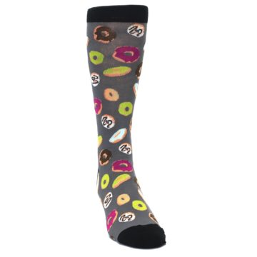 Image of Grey Black Donuts Men's Dress Socks (side-1-front-03)