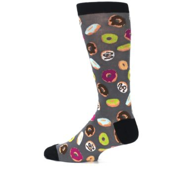 Image of Grey Black Donuts Men's Dress Socks (side-2-13)