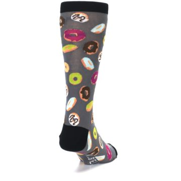 Image of Grey Black Donuts Men's Dress Socks (side-1-back-20)