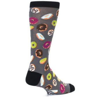 Image of Grey Black Donuts Men's Dress Socks (side-1-back-22)