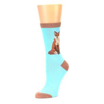 Image of Blue Brown Fox Women's Dress Socks (side-2-09)