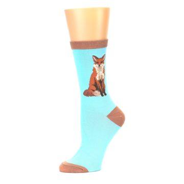Image of Blue Brown Fox Women's Dress Socks (side-2-10)