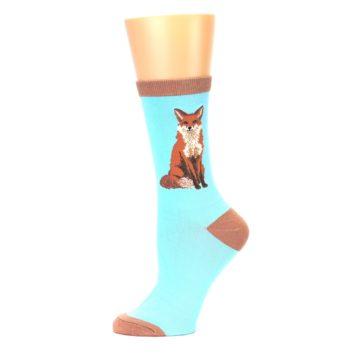 Image of Blue Brown Fox Women's Dress Socks (side-2-11)
