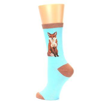 Image of Blue Brown Fox Women's Dress Socks (side-2-back-14)