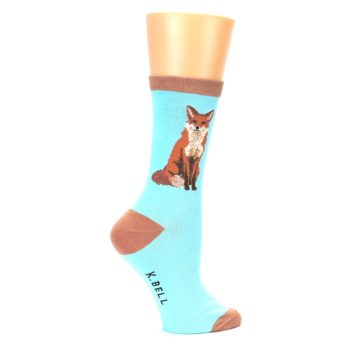 Image of Blue Brown Fox Women's Dress Socks (side-1-back-22)
