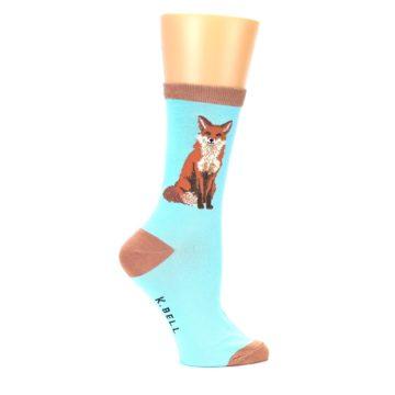 Image of Blue Brown Fox Women's Dress Socks (side-1-23)
