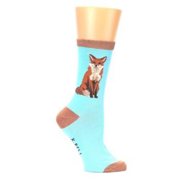 Image of Blue Brown Fox Women's Dress Socks (side-1-24)