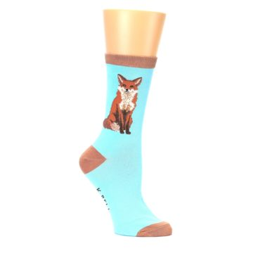 Image of Blue Brown Fox Women's Dress Socks (side-1-25)