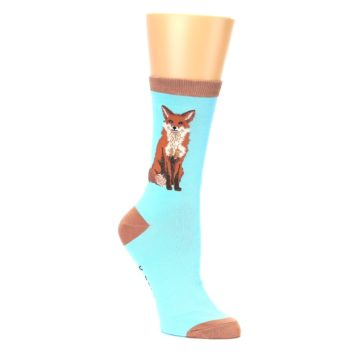 Image of Blue Brown Fox Women's Dress Socks (side-1-26)