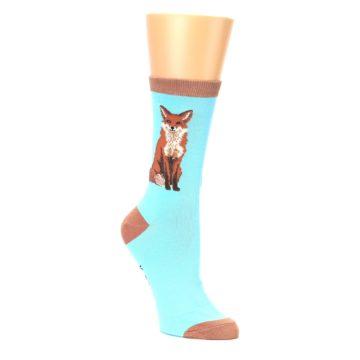 Image of Blue Brown Fox Women's Dress Socks (side-1-27)