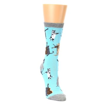 Image of Blue Grey Musical Cats Women's Dress Socks (side-1-front-02)