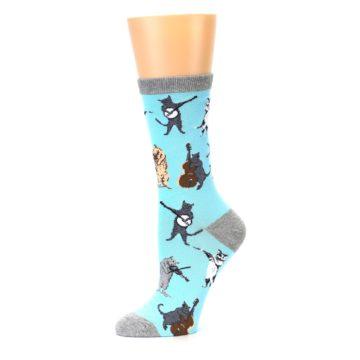 Image of Blue Grey Musical Cats Women's Dress Socks (side-2-10)