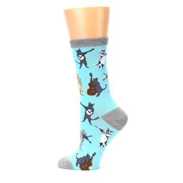 Image of Blue Grey Musical Cats Women's Dress Socks (side-2-12)