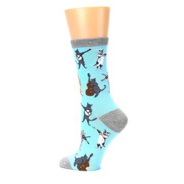 Image of Blue Grey Musical Cats Women's Dress Socks (side-2-13)